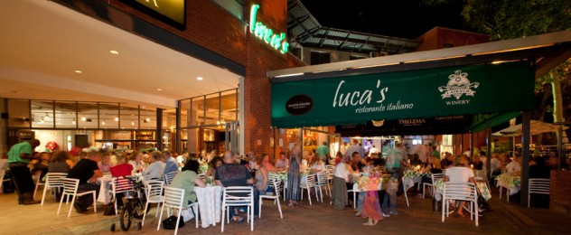 dining outside at Luca's