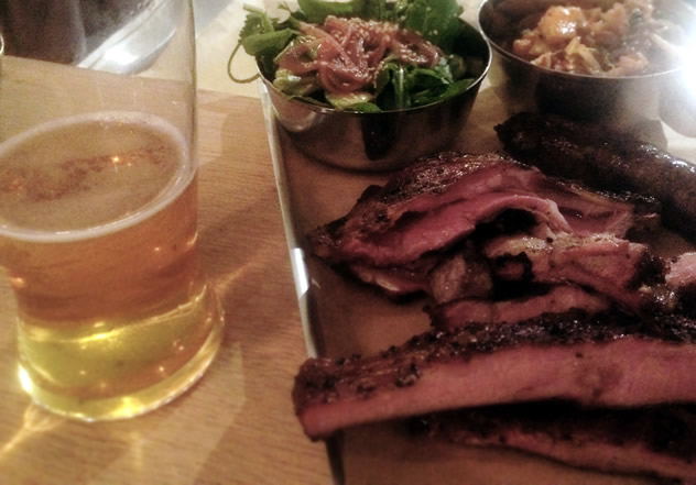 Ribs and beer at Hog House Brewing Company. Photo courtesy of the restaurant.