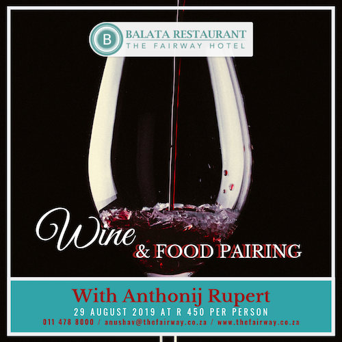 Wine and food pairing event at Balata