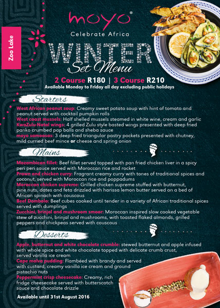 Winter set menu at Moyo