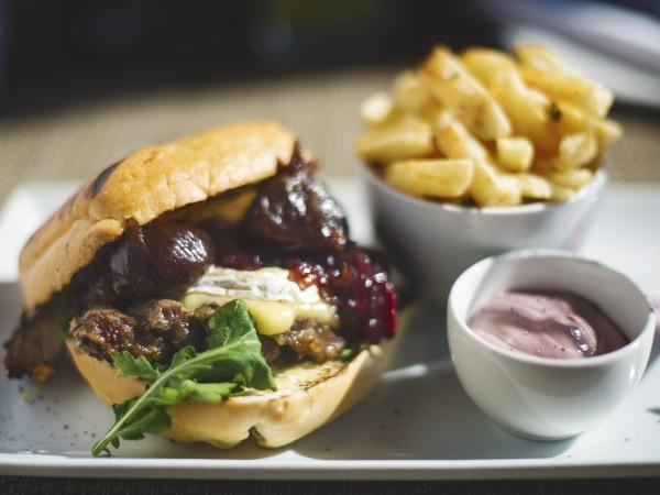 A burger at Shimmy Beach Club. Photo supplied.