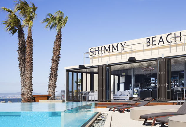 The exterior at the Shimmy Beach Club. Photo courtesy of the restaurant.