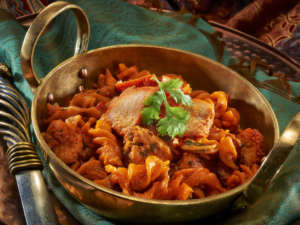A spicy pasta dish at The Raj. Photo supplied.