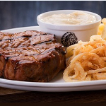 Spur Steak and onion rings