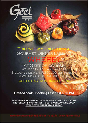 trio whiskey event prepared at Geet Indian Restaurant