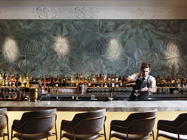 Marble's beautiful bar makes a comfortable spot to wind down before a magnificent meal. Photo supplied.