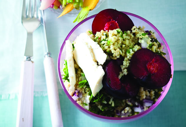 Plum and feta tabouleh