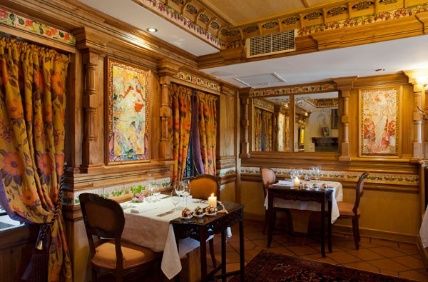 The interior at Restaurant Mosaic is inspired by the Parisian Belle Epoque.