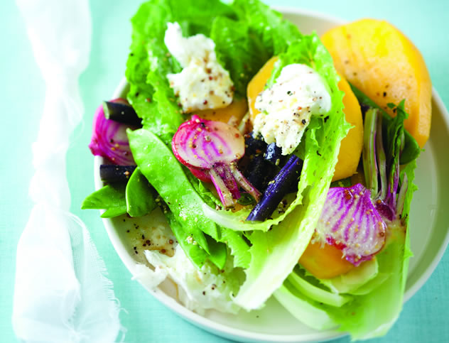 Lettuce, mango and mozzarella wraps