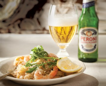 Garlic and chilli prawns with lemon risotto