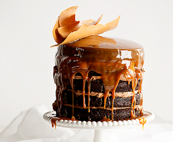 Milk stout and chocolate cake with butterscotch sauce, caramel chocolate shards and dark chocolate icing