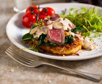 Rump steak with an Amarula and mushroom sauce