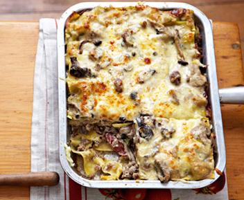 Venison, Parma ham and mushroom lasagne
