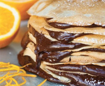 Crêpes with orange-infused chocolate mousse