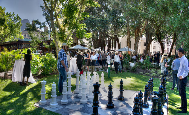 The giant chess set at The Company's Garden Restaurant. Photo courtesy of the restaurant.