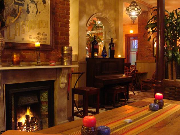 The fireplace at Rick's Café Americain
