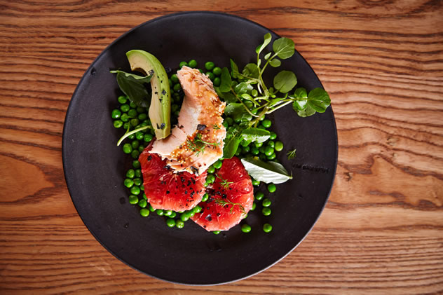 Slow roasted salmon and garden peas salad on the menu at Hemelhuijs. Photo courtesy of the restaurant.