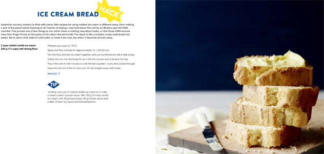Ice cream bread made with melted vanilla ice cream and self-raising flour.