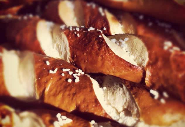 Pretzel hotdog rolls by Baguette Bicycle