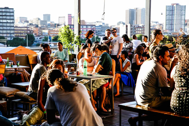The rooftop bar at The Living Rooms
