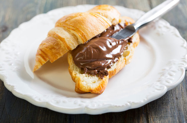Croissants with chocolate filling.