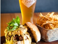 burger and beer prepared and served at Republik