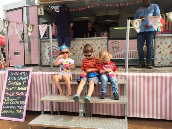 kids enjoying their ice cream at the Knickerbocker Ice Cream Truck
