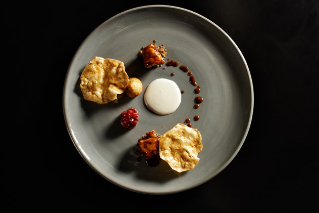 Chicken & Sherry glazed sweetbreads, Almond Milk, Almond falafel, Celeriac Crisps, Grapes. Photo courtesy of Manley Communications.