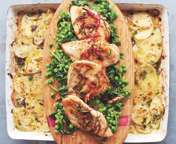 Jamie olivers golden chicken with braised greens and potato gratin jamie olivers golden chicken with braised greens and potato gratin recipe eatout forumfinder Image collections