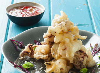 Tempura calamari with sweet-and-sour dipping sauce Recipe - EatOut