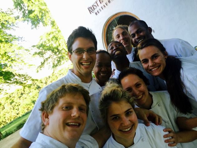 John with his dream team at Rust en Vrede Restaurant in 2014. Photo courtesy of the restaurant.