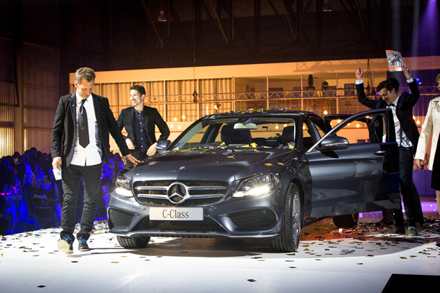 The Test Kitchen team with the Mercedes Benz C-Class they get to drive  for a whole year!