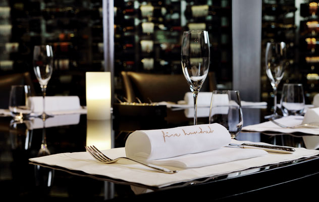 A table at Five Hundred. Photo courtesy of the restaurant.