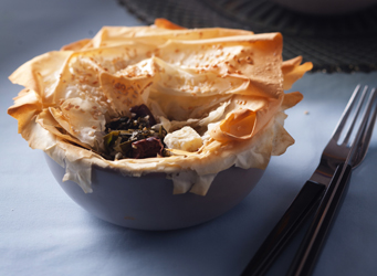 Olive, feta and spinach phyllo pastry pie