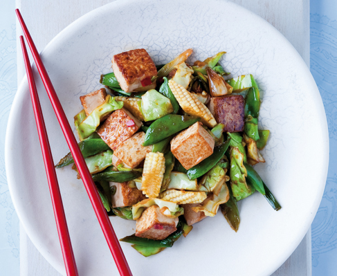 Spring vegetable stir-fry with tofu and a ginger-honey ...