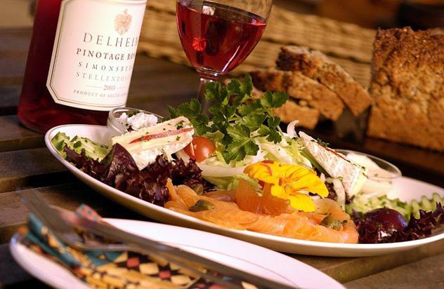 A meal at Delheim Garden Restaurant.