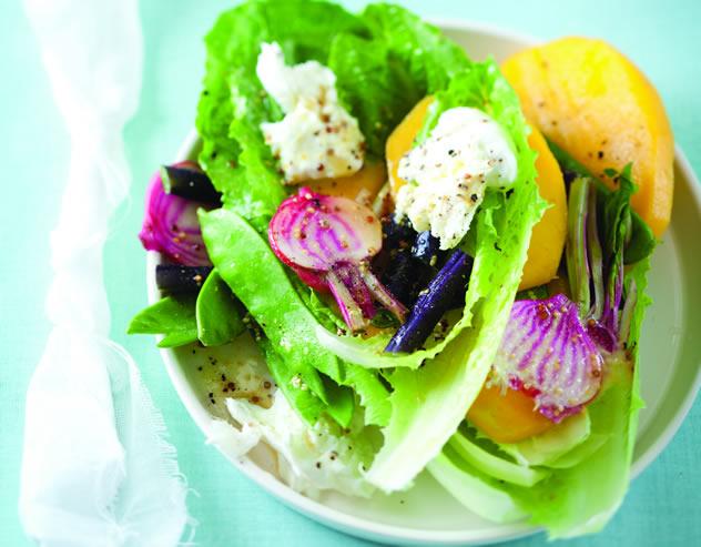 Lettuce, mango and mozzarella wraps