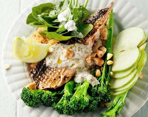 Quinoa, smoked mackerel and broccoli salad