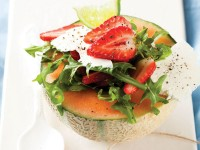 Melon and strawberry cup with feta cheese