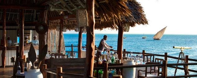 The resort's restaurant and bar area on stilts.