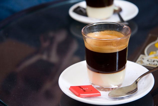 A cafe bonbon - coffee and condensed milk. Photo by Chris Gladis.