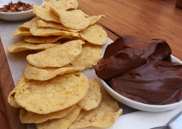 Chocolate guacamole with nachos and chilli flakes at Honest Chocolate Café