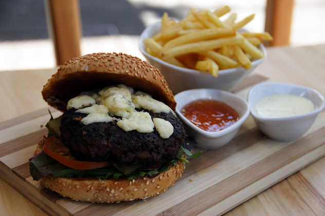A burger and chips at Latitude 33. Photo courtesy of the restaurant.