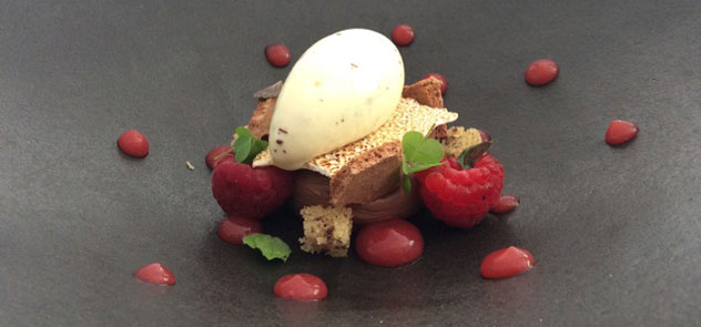A berry dessert with creme fraiche