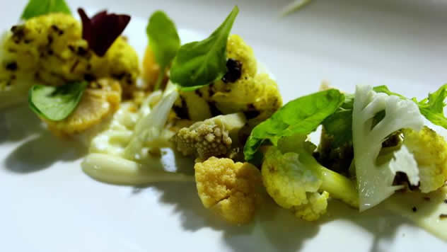 Chargrilled, curried cauliflower