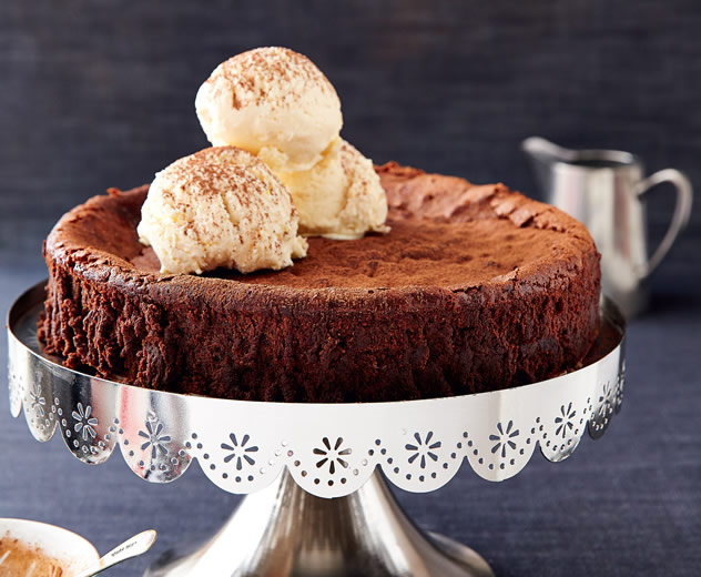Dark chocolate mousse cake with coffee ice cream