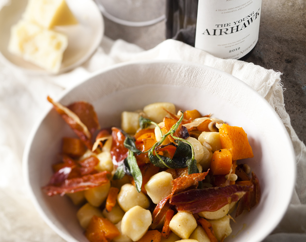 Gnocchi with Parma ham, butternut and pine nuts