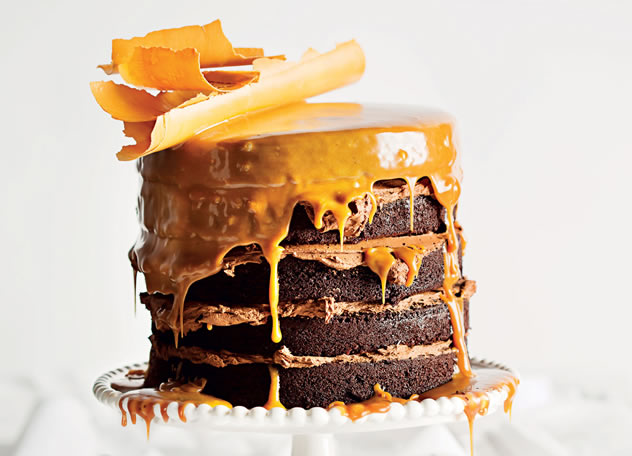 Milk-stout-and-chocolate cake with butterscotch sauce, caramel chocolate shards and dark chocolate icing