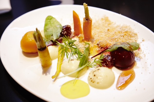 Reuben Riffel's Healey's aged cheddar custard, rainbow roots with moskonfyt, macadamia nuts and onion powder