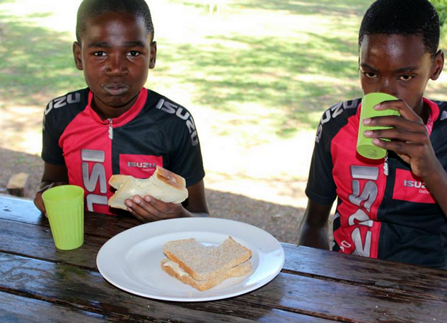 Young members of the Diepsloot Mountain Bike Academy. Photo courtesy of Food Cycle.